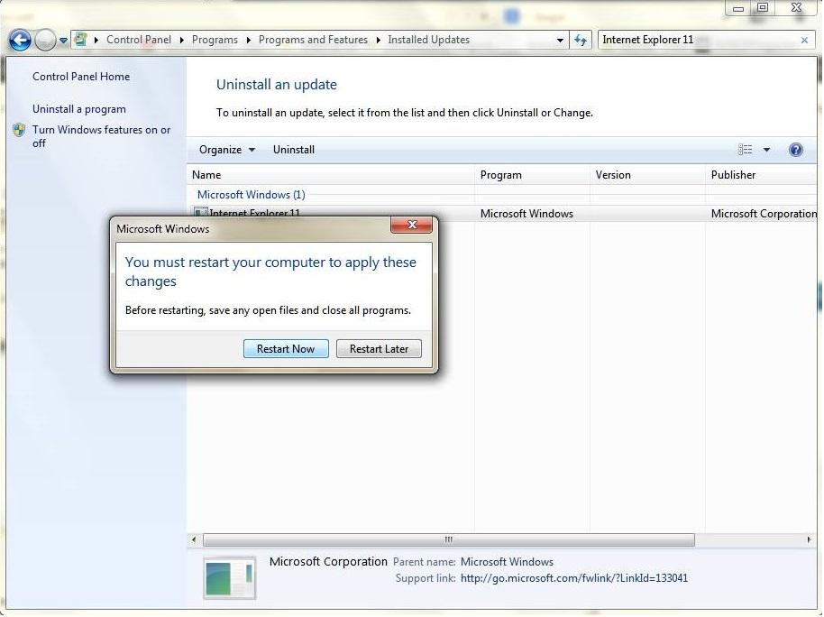 Uninstall Internet Explorer 11 for Windows 7 : Step 6 - www.gizmophiliacs.com