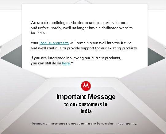 Motorola leaving India www.gizmophiliacs.com