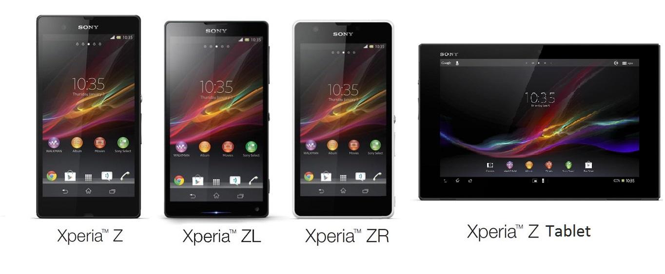 Sony Xperia Z, Xperia ZR, Xperia ZL, and Xperia Z tablet - www.gizmophiliacs.com